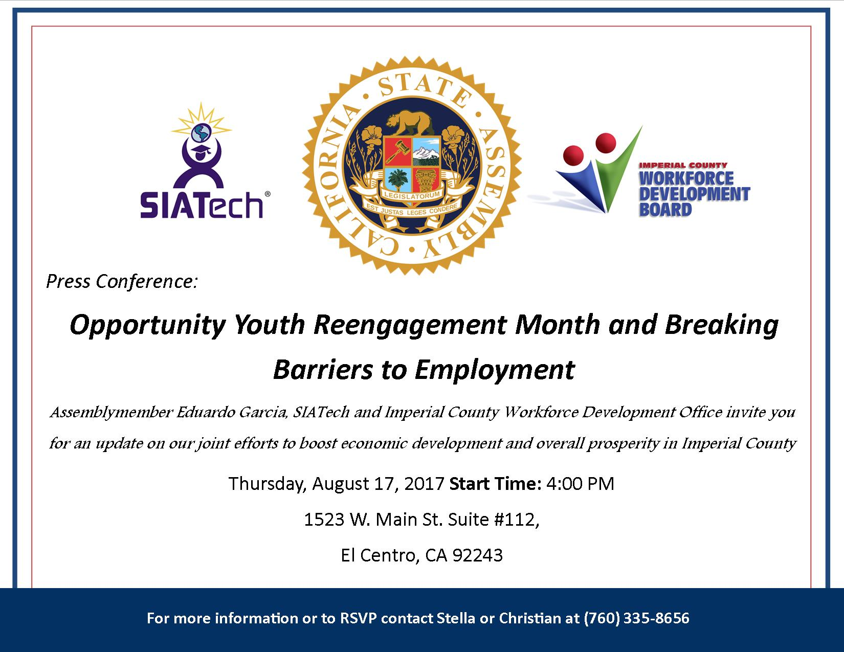 Invitation to Youth Reengagement Month and Breaking Barriels to Employment