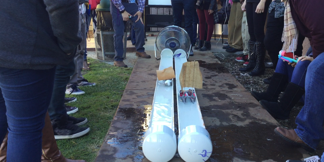 San Diego SIATech students testing out their Water Design prototypes.